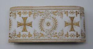 Orphrey-Vintage-Croce-Color-Oro-su-Bianco-Casula-Bendaggio-11-4cm-Ampio-12-8m