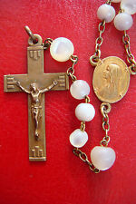 """""""VIRGIN MARY"""" OLD VINTAGE  MOTHER OF PEARL BEADS BEAUTIFUL ITALY ROSARY"""