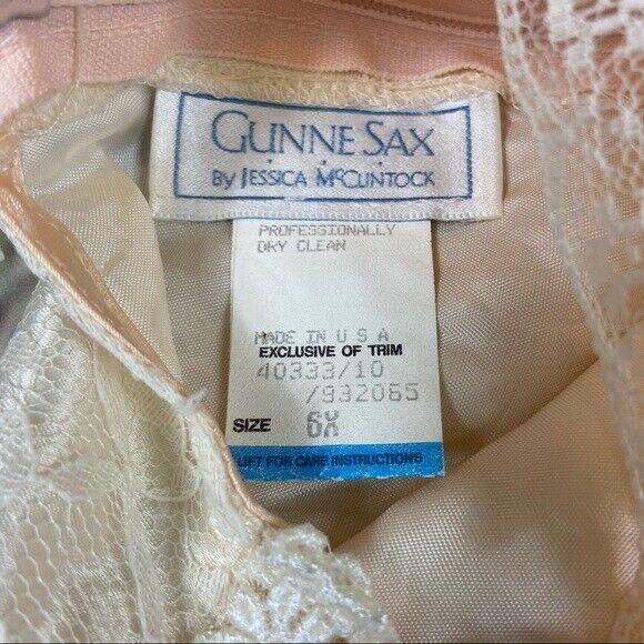 Gunne Sax girls lace dress cream shortsleeved - image 8
