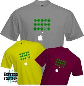 APPLE-SHOOTS-ANDROID-Space-Invaders-Fun-Versus-Battle-Quality-T-Shirt-NEW