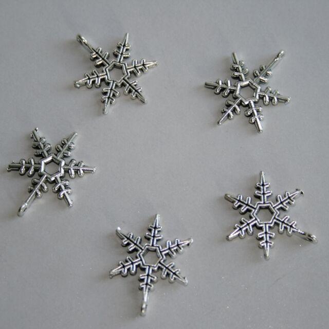 5pcs Silver Color Metal Snowflake Pendant BJD Doll Jewelry Necklace DIY Craft
