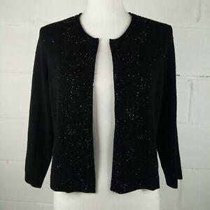 Eileen-Fisher-Cardigan-Women-Size-M-Wool-Black-Beads