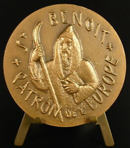 à Condition De Médaille Saint Benoît De Nursie Patron De L'europe Pour La Paix Pax Europ Medal Luxuriant In Design