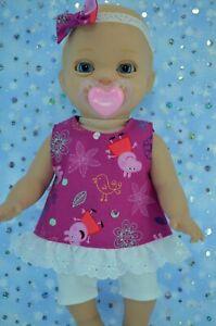 PlaynWear-Dolls-Clothes-For-14-034-Luvabella-Newborn-PATTERN-TOP-LEGGINGS-HEADBAND