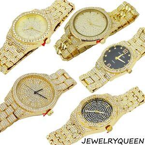 Men-039-s-Bling-Luxury-Rapper-039-s-CZ-Gems-Metal-Band-Bracelet-Clubbing-Watch