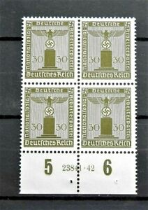 WW2-REAL-3rdREICH-ERA-GERMAN-BLOCK-OF-4-OFFICIAL-STAMPS-WITH-MARG-30RF