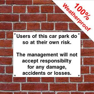 Car park disclaimer sign HOT04 Parking disclaimer Durable & weatherproof notices