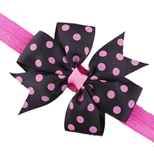 Newborn Baby Kids Girls Headband Infant Toddler Bowknot Dots Hair Band Headwear