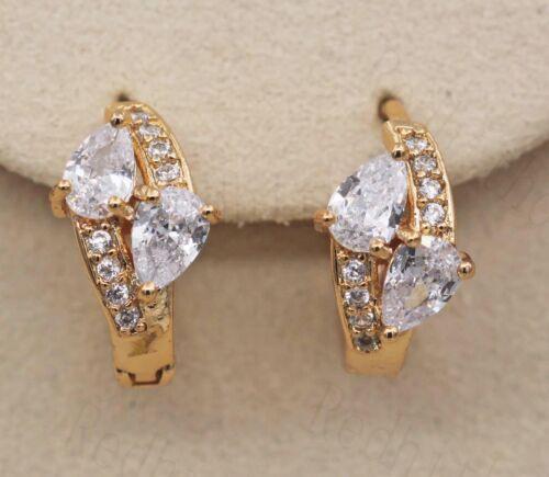 18K Gold filled-Vintage Goutte Claire Topaz Zircon Pageant Femmes Boucles D/'oreilles