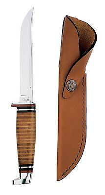 Case Cutlery 381 Hunter Stainless Steel Fixed Blade Knife w/ Leather Sheath