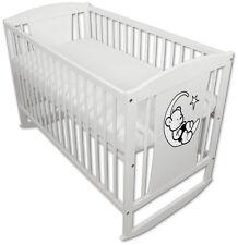 Babybett Kinderbett Wiegebett 120x60 Weiß + Aufkleber Teddybär-Mond und Matratze