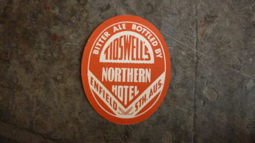 OLD AUSTRALIAN BEER LABEL, 1950s NORTHERN HOTEL ENFIELD SA, TIDSWELL ALE