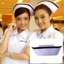 AUTHENTIC NURSE CAP OLD FASHION VINTAGE WHITE COTTON COSTUME HAT W// HEMSTITCHING