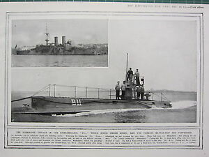 Details about 1915 WWI WW1 PRINT ~ SUBMARINE EXPLOIT DARDANELLES B11  TURKISH BATTLE-SHIP
