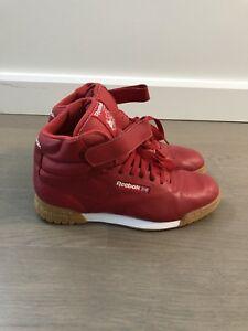 cb361e0a3 Old School Retro Mens Red Reebok Classic Ex-O-Fit Gum Hi Tops Size 8 ...