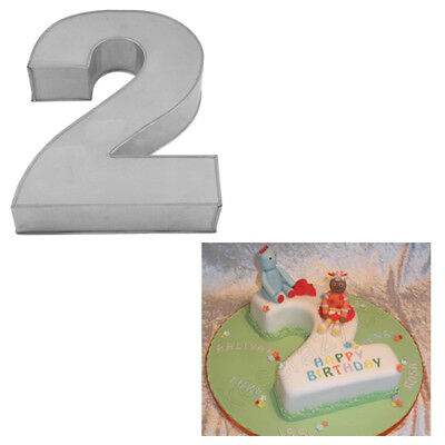 Large Number Two Birthday Wedding Anniversary Cake Tins Pans Mould By Falcon