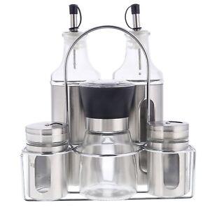 6 tlg menage set gew rzregal l essig spender flasche salz pfeffer streuer m hle ebay. Black Bedroom Furniture Sets. Home Design Ideas