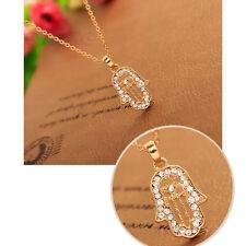 Lucky Lady Fatima Hand Hamsa Necklace Pendant Charm Rhinestone Golden Chain