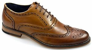 New-Mens-Leather-Brogue-Shoes-Lace-Up-Black-amp-Tan-Cavani-Big-Sizes-Uk-12-To-15