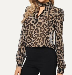 Long-Sleeve-Choker-Neck-V-Neck-Leopard-Elegant-Blouse-Top-Casual-Work