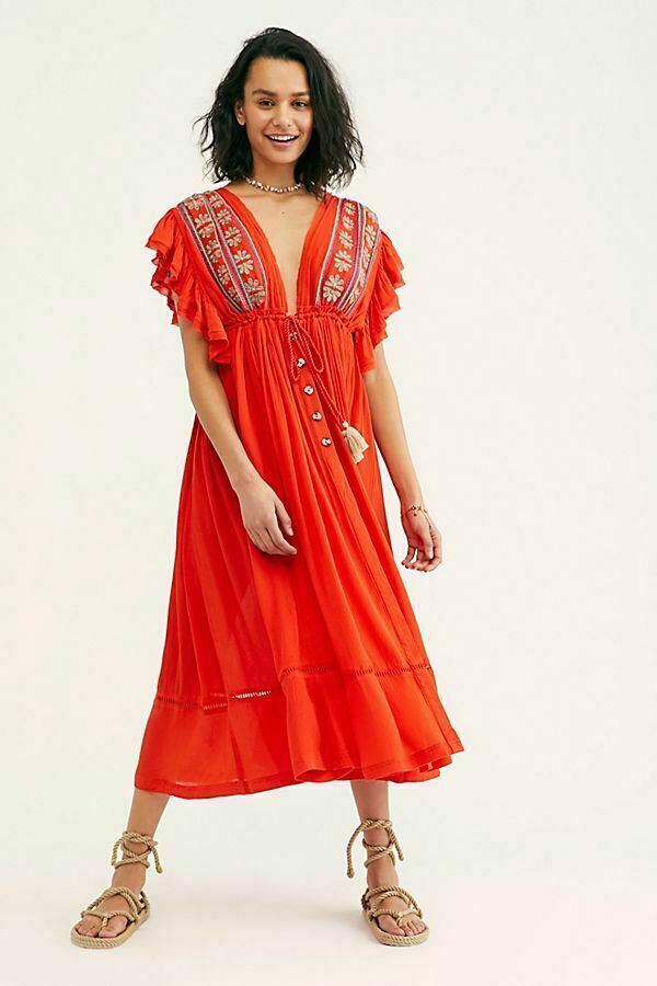 188759  Free People Bali Will Wait For You Midi Dress Ruffle Embroiderot S