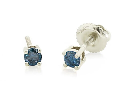 Blue Diamond Stud Earrings 10K White Gold Solitaire Studs Screw Back .25ct