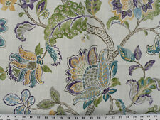 Drapery Upholstery Fabric Blended Linen Lg. Scale Floral Print - Purple/Peacock