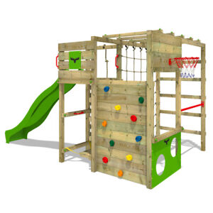 FATMOOSE-Spielturm-Klettergeruest-FitFrame-Fresh-XXL-Rutsche-Kletternetz-Holz