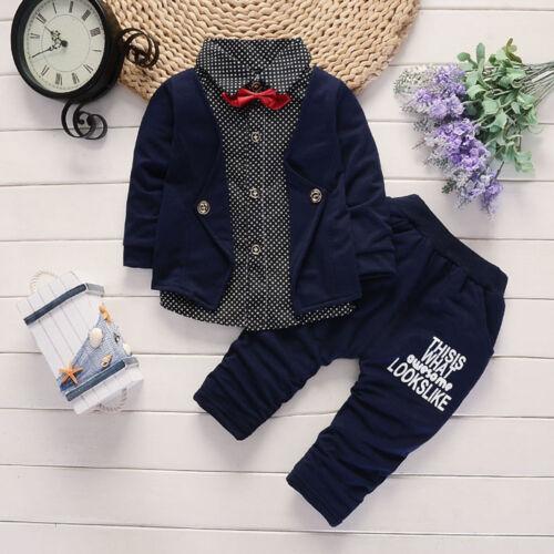 Neu Kind Baby Junge Fliege Weste Hemd+Hose Outfit Kleidung Gentleman Anzug Set