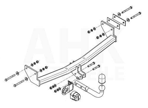 Pour Jeep Compass mk49 06-11 complet Attelage il 13p Fac attelage rigide