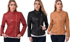 Womens-LEATHER-JACKET-Ladies-Biker-Soft-SHEEP-NAPPA-100-Genuine-Leather