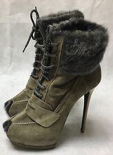 Gianmarco Lorenzi Stone Colour Suede & Grey Fur Heel Boots. Size 41. A4D9J2523.