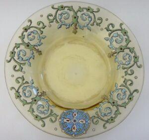 Assiette-creuse-verre-emaille-Old-enamel-plate-glass-19-5cm