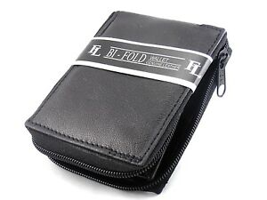 Mens-Genuine-Leather-Bifold-Zipper-Zip-Around-Wallet-Black-Window-ID-Credit-Card