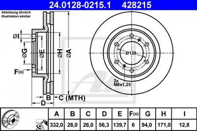 24.0126-0119.1 2x Bremsscheibe Bremse NEU ATE