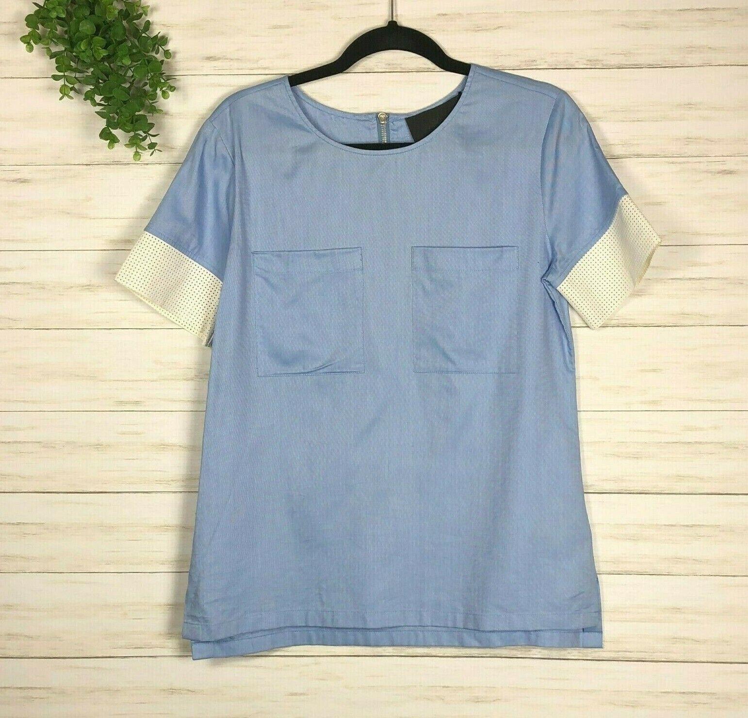 NEW NWT Woherren J. Crew Collection Mesh Trim Shirt sz 0 Blau ivory  C1714