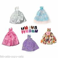 3 x BARBIE DOLL CLOTHING BALL GOWN WEDDING DRESS & 3x SHOES FREE P&P UK SELLER