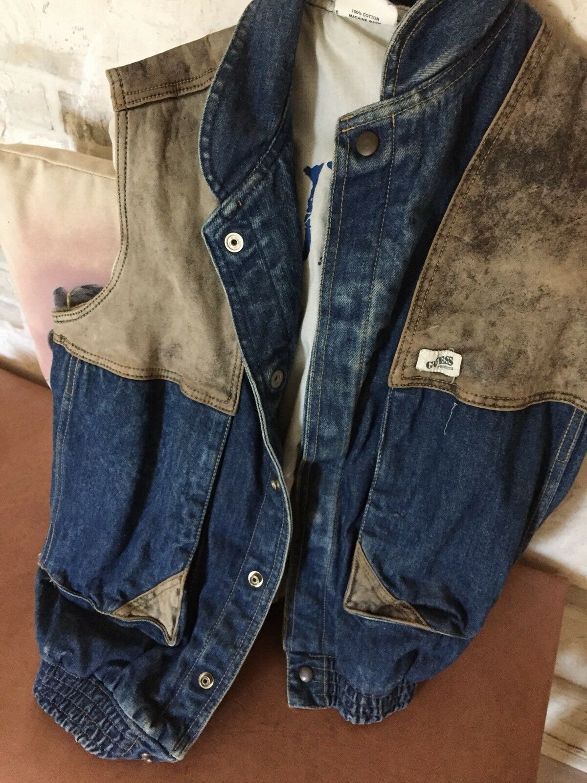 Rare...Vintage ...GUESS denim & leather vest ... Medium
