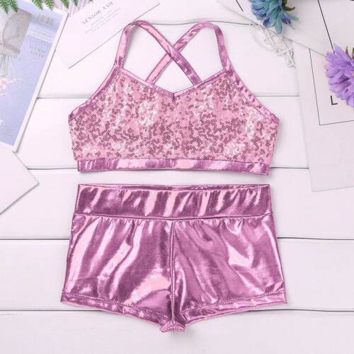 Kid Girl Dance Sport Outfit Leotard Sequin Dancewear Gym Fitness Workout Tankini