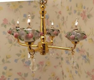 Dollhouse-Miniature-Shabby-Chic-Pink-Roses-Crystal-4-Arm-Chandelier-Light-Lamp