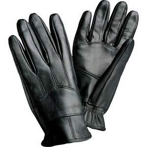 NEW-Mens-Genuine-Solid-Black-Leather-Driving-Gloves-Basic-Cold-Bike-M-L-XL-GIFT