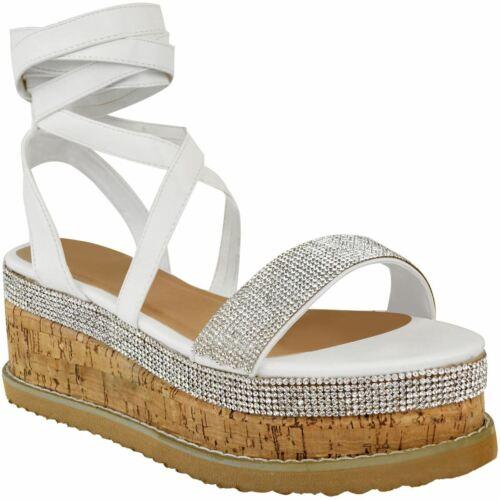 Womens Ladies Lace Up Espadrilles Sandals Diamante Flat Thick Sole Flatform Shoe