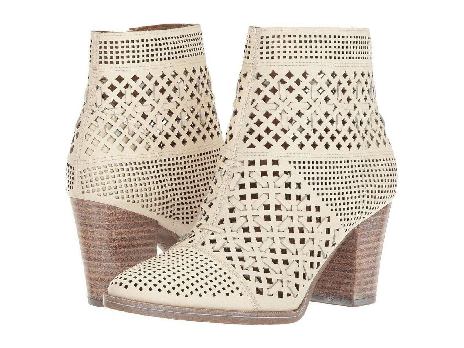 New Sz 7 Franco Sarto DAMSEL Perforated Woven Leather Ankle Boots Ivory Milk