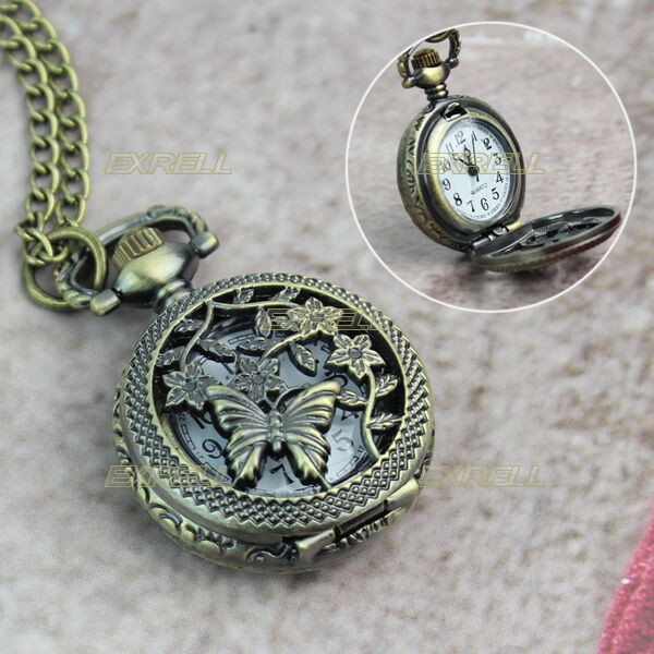 Antique Bronze Tone Butterfly Flower Quartz Pocket Watch Necklace Chain Pendant