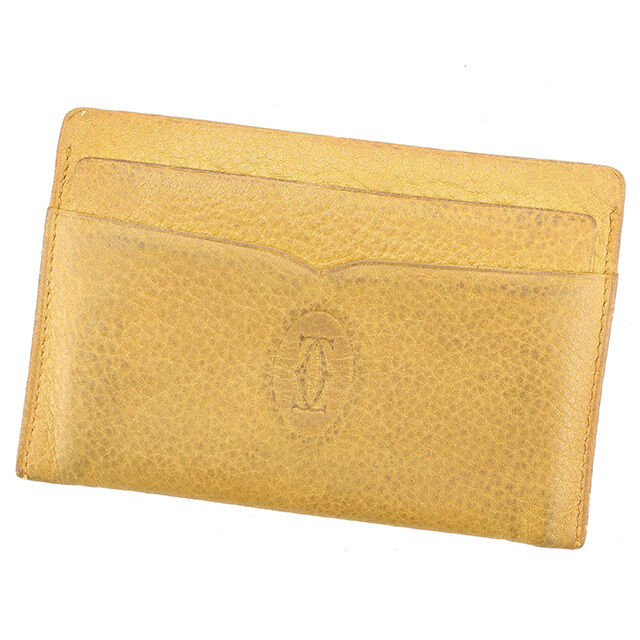 Cartier Card Case Beige Woman unisex Authentic Used A1472