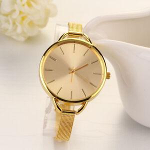 Luxus-Edelstahl-Damenuhr-Gold-Slim-Band-Analog-Quartz-Mode-Armband-Uhren-Watch