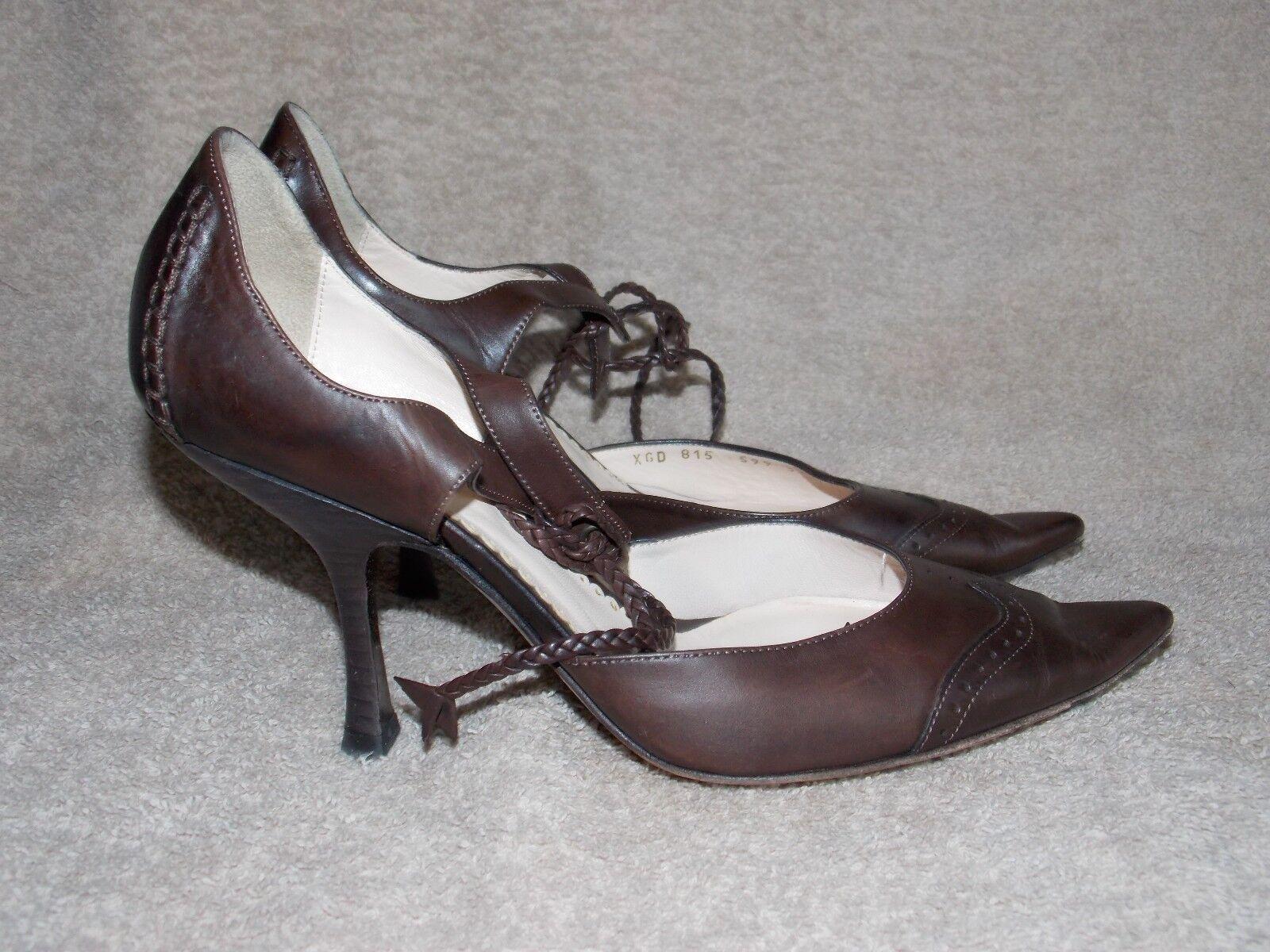 sconto prezzo basso Giorgio Armani Marrone Marrone Marrone Leather VICTORIAN Ox Pump Heels 37 7 Used  punto vendita