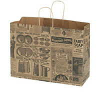 100 Large Newsprint Paper Shopping Bags With Gusset Handles 16 X 6 X 12