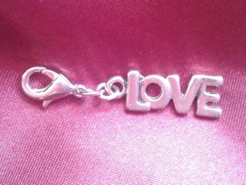 CH235 Silver Plated Hand Made Clip on Charm LOVE VALENTINE WEDDING HEART