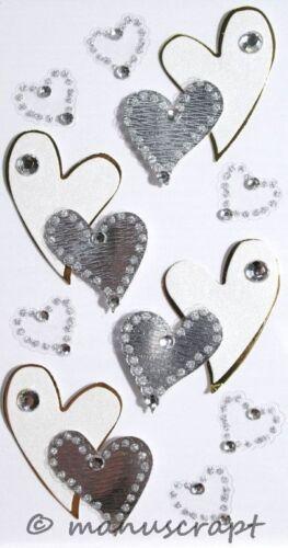 Artoz artwork 3d-sticker curvada corazones de plata boda